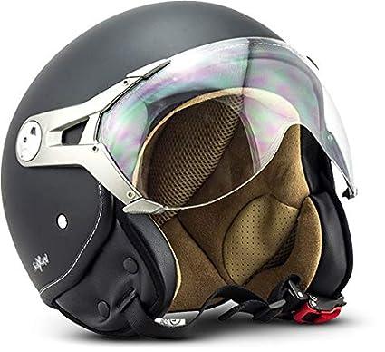 SOXON SP-325-MONO Night · Piloto Helmet Urbano Casco Demi-Jet Urban Moto motocicleta Scooter Retro Biker Bobber Chopper Vespa Mofa Cruiser Vintage · ...