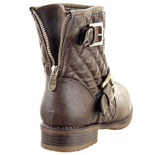 Sopily - Zapatillas de Moda Botines Cavalier Low boots A medio muslo mujer zapato acolchado Hebilla Cremallera Talón Tacón ancho 3 CM - plantilla textil - Marrón