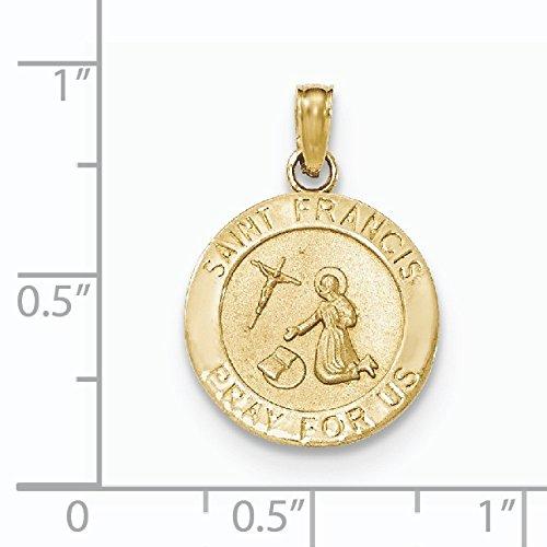 Or 14 carats et finition poli satiné JewelryWeb Pendentif Médaille Saint François