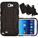 Note 2 Case, Galaxy Note 2 Case Kmall Shockproof Heavy Duty Protection Hybrid Full Body Rugged Case Rubber Dual Layer Holster Note 2 Cover for Samsung Galaxy Note 2 N7100 with Kickstand(Black)