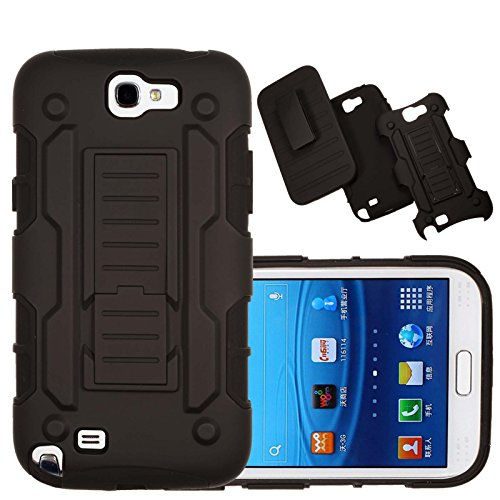 (Note 2 Case, Galaxy Note 2 Case Kmall Shockproof Heavy Duty Protection Hybrid Full Body Rugged Case Rubber Dual Layer Holster Note 2 Cover for Samsung Galaxy Note 2 N7100 with Kickstand(Black))