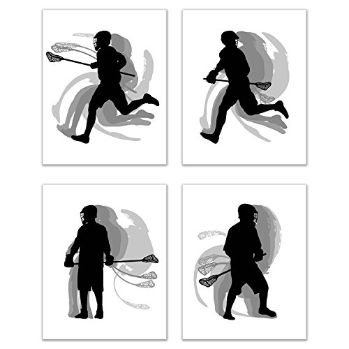 Lacrosse Wall Art Prints - Silhouette - Set of 4 (8x10) Poster Photos - Bedroom - Man Cave ()