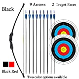 iMay 45' Bow and Arrows Set with 9 Arrows 2 Target Faces for Teens Outdoor Archery Beginner Gift Recurve Bow Longbow Kit (Black)