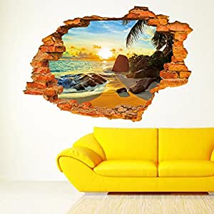 Sucis 3D Beautiful and peaceful Sunset Beach Scenery Removable Wall Art Sticker Decal Home Decor by Tiny Home