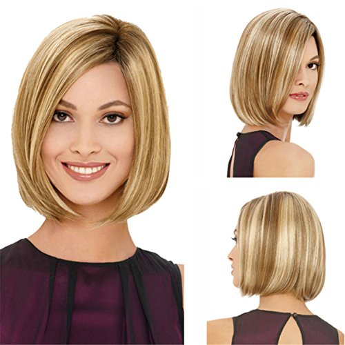 YX Women Short Bob Hair wig Blonde Ombre Synthetic Wig Natural As Real Hair Party Wig 32CM (Dark Blonde Wig)