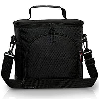 Pwrxtreme Insulated Lunch Bag with 2 Way Zipper Closures Double-sewn Nylon Large Mesh Side Pockets and 48-Inch Detachable Shoulder Strap