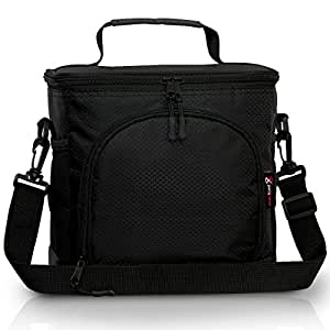 Pwrxtreme Insulated Lunch Bag with Best 2 Way Zipper Closures Double-sewn Nylon Large Mesh Side Pockets and 48-Inch Detachable Shoulder Strap