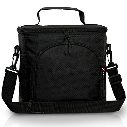 Pwrxtreme Insulated Lunch Bag with Best 2 Way Zipper Closures Double-sewn Nylon Large Mesh Side Pockets and 48-Inch Detachable Shoulder Strap ()
