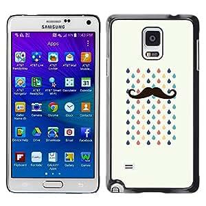[Neutron-Star] Snap-on Series Teléfono Carcasa Funda Case Caso para Samsung Galaxy Note 4 [Bigote Tears Hipster Lluvia]