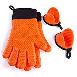 Zinglife Silicone Oven Mitt 1 Pair Of Extra Long Heat Resistant Gloves With Bonus 1 Pair Of Mini Cooking Pinch Grips Non Slip Oven Gloves Bbq Kitchen Machine Washable Pot Holders Mitts Orange