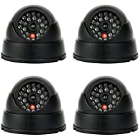 9milelake 4 Pack NEW Dummy Fake Security Cctv Dome Camera with Flashing Red LED Light (Dome Canera)