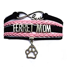 DOLON Ferret Mom Bracelet Heart Charm Black With Pink Leather Braided Puppy Cat Breeds Lover Gift
