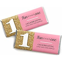 1st Birthday Girl - Fun to be One - Birthday Party Candy Bar Wrappers Party Favors - Set of 24