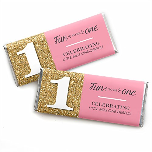 (1st Birthday Girl - Fun to be One - Candy Bar Wrappers First Birthday Party Favors - Set of)