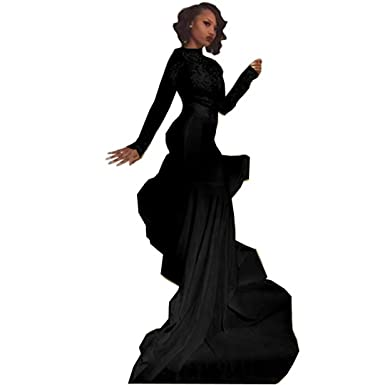 Chady Sexy African Black Girl Black Mermaid Prom Dresses 2018 Court Train Appliques Lace Prom Dress