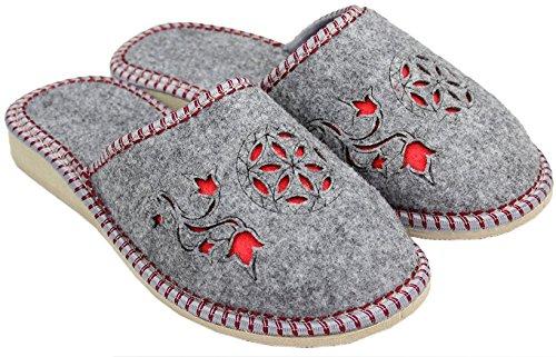 Filzpantoffel chaussons latschen feutre rouge en Gris femme Gris en gris schlappen semelles avec caoutchouc feutre H1rfqHdwU
