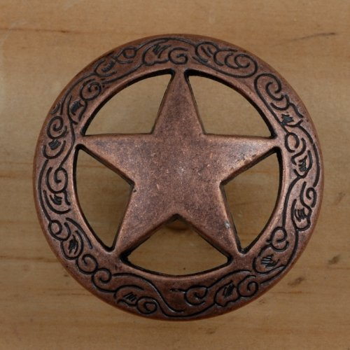 Set of 24 Fancy Garland Lone Star Drawer Pulls Cabinet Knobs Western Southwest Decor Texas (Antique Copper)