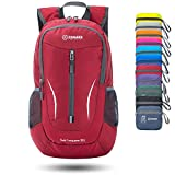 ZOMAKE Ultra Lightweight Packable Backpack, 25L Small Water Resistant Hiking Daypack Foldable Travel Backpack Men Women Outdoor(Red)