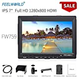 "Feelworld FW759 Camera Monitor 7""Ultra HD 1280x800 Field Video LCD IPS Screen 800:1 High Contrast Ratio for Steady Cam, DSLR Rig, Camcorder Kit, Handheld Stabilizer"