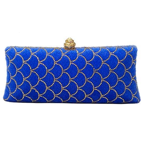 FZHLY Paquete De Noche Plush Diamond Clutch Bolso De Cadena Para Mujer,BlueFlowers BlueFishScales
