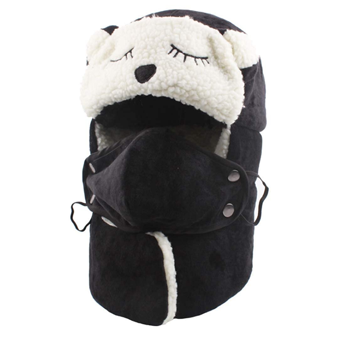 ACVIP Girls Bear Shaped Fleece Lining Cold Weather Bomber Hat with Mask