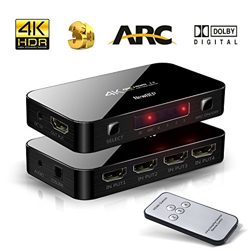NewBEP 4X1 HDMI Switch with Audio Optical TOSLINK Out, NewBEP 4K Ultra HD 4 Port 4Kx2K HDMI Switcher Box Selector Audio Extractor Splitter with IR Remote [Support ARC | 3D 1080p] for Mackbook HDTV Laptop Etc price tips cheap
