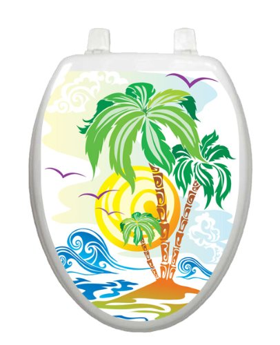Catch The Wave Toilet Tattoo TT-1080-O Elongated Beach Theme Cover Bathroom by Toilet Tattoo