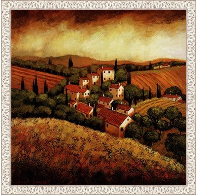 Framed Tuscan Hillside Village- 24x24 Inches - Art Print (White Wash Frame) (Village Tuscan Hillside)