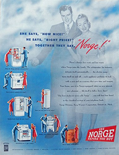 Ads Appliance Vintage (Norge Appliances, Vintage Print Ad. (stove,refrig.,heater, etc.). Original 1947 Collier's Magazine Art)