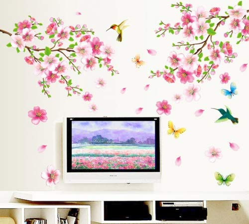 Fange DIY Removable Plum blossom Flower Butterflies Hummingbirds Art Mural Vinyl Wall Stickers Bedroom Decor Livingroom Decal Sticker Wallpaper 47.2''x43.3'' ()