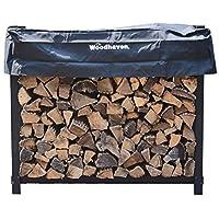 """Estante de leña de madera resistente de 48 """"con cubierta"""