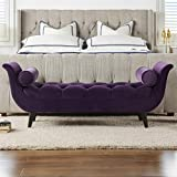 Jennifer Taylor Home Alma Tufted Flare Arm Entryway Bench, Purple