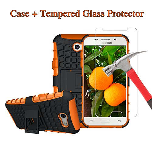For J3 Eclipse, J3 Mission, J3 Emerge, Express Prime 2, Amp Prime 2, J3 Prime, J3 Luna Pro, Sol 2, Samsung Galaxy J3 2017 Screen Protector and Case with Stand [Tempered Glass + Orange Kickstand (Mission Jelly)