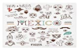 Lunarable Mexican Doormat, Mexican Latino Doodles Hipster Mustache Restaurant Cat Heart Viva Fiesta, Decorative Polyester Floor Mat Non-Skid Backing, 30 W X 18 L inches, Brown Multicolor