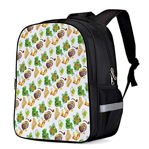 Laptop Backpacks for Kids Girls & Boys, St. Patrick's Day Irish Party Pattern Harp Leprechaun Hat and Gold College Students School Bags Bookbag Casual Daypack - Lightweight, Water Resistant