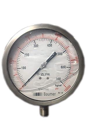 Pressure Gauge Glycerin Filled Dual Scale 0 700 BAR 10000 PSI 100 Mm Dial Amazon Industrial Scientific