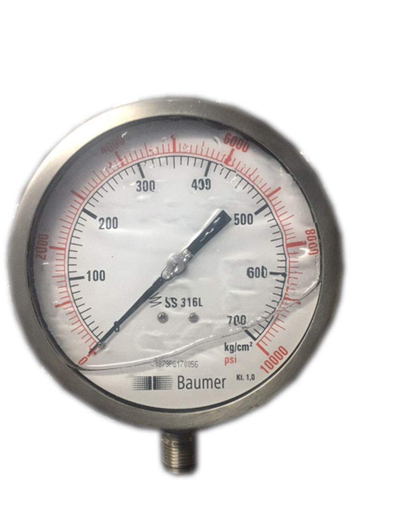 Pressure Gauge: Glycerin Filled, Dual Scale 0-700 BAR & 0-10000 PSI, 100 mm Dial