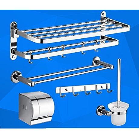 Stainless Steel Towel Rack Folding Towel Rack Shelf Bathroom Bathroom Accessories Set M