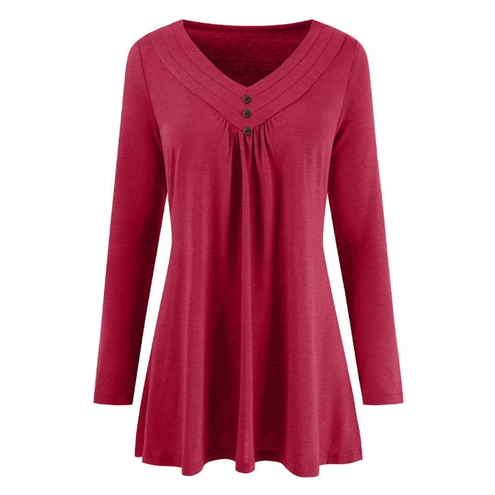 Women Autumn Solid Top Long Sleeve Loose Button V Neck Vest Cami Blouse Shirts T Shirt for Men Red
