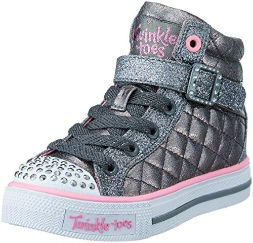 [Skechers Kids Shuffles Sweetheart Sole (Little Kid), Gunmetal Quilt, 1 M US Little Kid] (Sweetheart Girl)