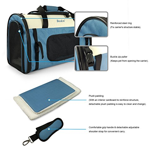 Becko Expandable Foldable Pet Carrier Travel Handbag with Padding and Extension (Blue) by Becko (Image #5)