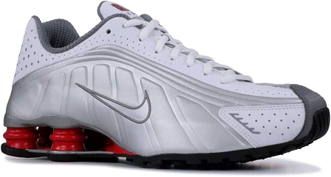 Nike Mens Shox R4 Sneakers New, WhiteSilverRed BV1111 100