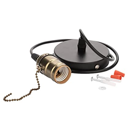 Portalámparas E27 - E27 Portalámparas colgante vintage, con interruptor de cadena de tracción Base lámpara Montaje en el techo (Color : Bronze)