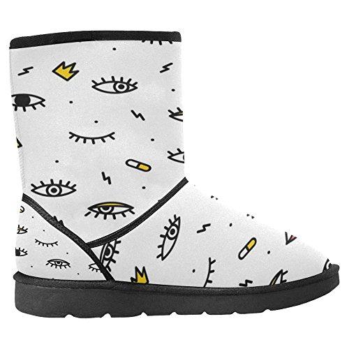Snow Stivali Da Donna Di Interestprint Design Unico Comfort Invernale Stivali Occhi Psichedelici Con Le Labbra Multi 1