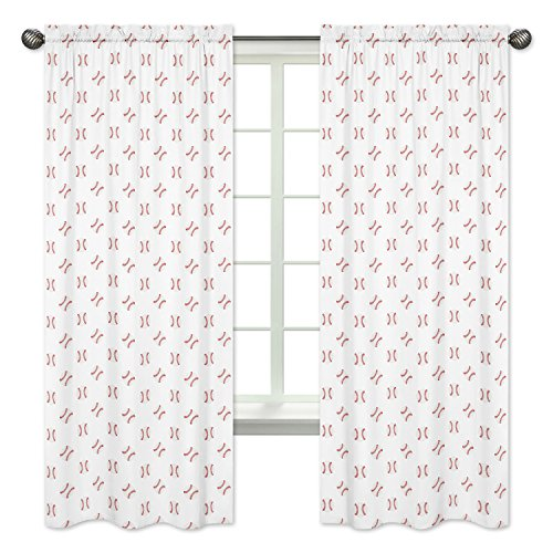 Jojo Designs Panel - Sweet Jojo Designs Red and White Window Treatment Panels Curtains for Baseball Patch Sports Collection - Set of 2