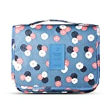 Portable Travel Makeup Cosmetic Bag - Mr.Pro Waterproof Haning Travel Kit Toiletry Bag Bathroom Organizer Carry On Case (Polka Dot Blue)
