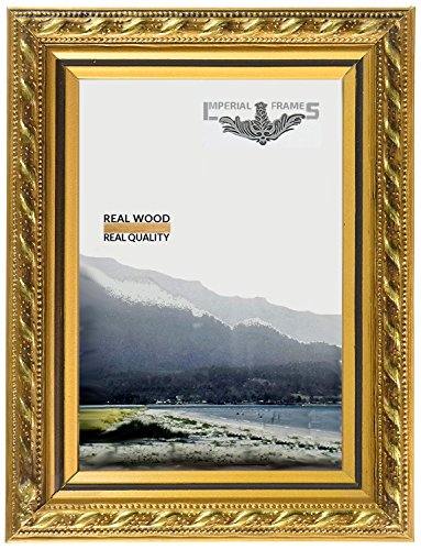 MyFrameStore Imperial Frames 5 by 7-Inch/7 by 5-Inch Picture/Photo Frame, Thin Fancy Rope Shaped Gold Molding