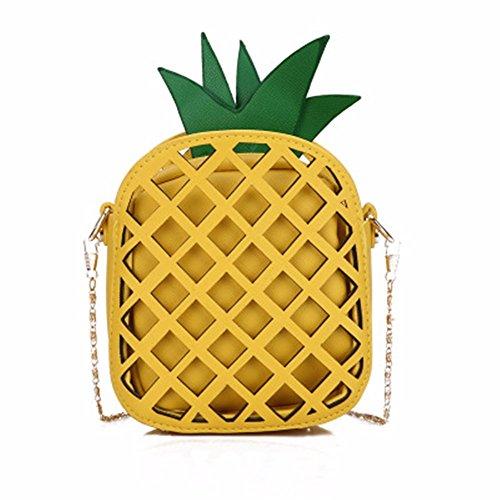 2018 nueva piña bolsas, la primavera y el verano de color cadena, bolsa de hombro,Amarillo Amarillo