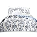 DriftAway 3 Piece Samantha Reversible Quilt Set/Bedspread/Coverlet- Repeated Floral/Medallion Pattern, 100% Cotton Cover, Pre-Washed, Blue (Full/Queen)