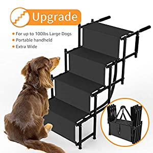 Dog Car Step Stairs Foldable - SUKI&SAMI Metal Frame Folding Dog Ramp for Car,Lightweight Portable Large Dog Ladder,for Dogs and Cats,SUVs and Trucks,Couch and Bed,Protect Pets' Joint and Knee 33